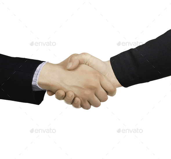Businessmen shaking hands isolated - Stock Photo - Images