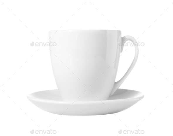 White Cup and dish isolated - Stock Photo - Images