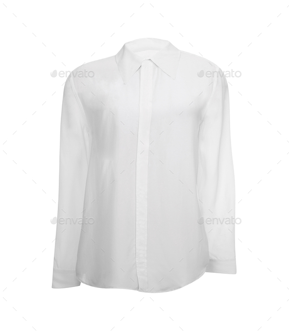 white shirt with long sleeves isolated - Stock Photo - Images