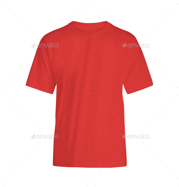 red T-shirt on white background - Stock Photo - Images
