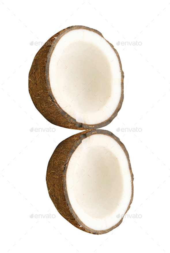 Coconut with half isolated - Stock Photo - Images