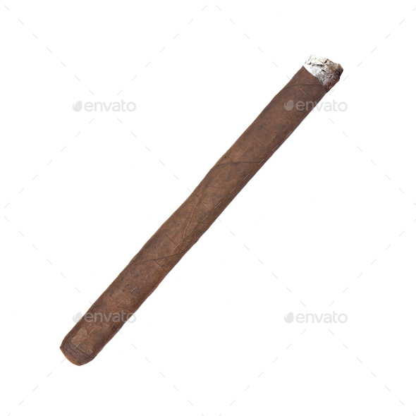 Smoking havana cigar isolated - Stock Photo - Images
