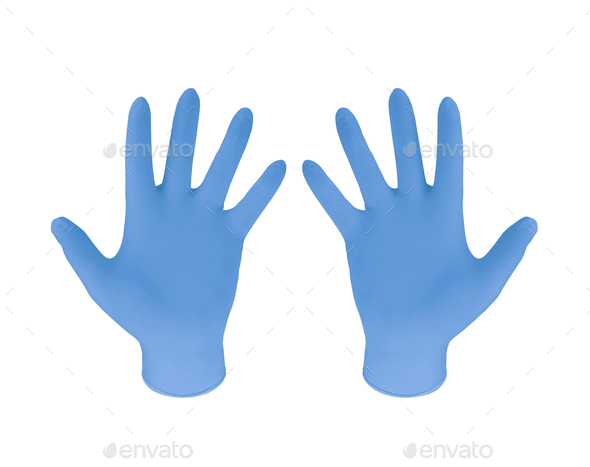 Blue Rubber Gloves - Stock Photo - Images