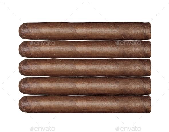 long cigars set isolated - Stock Photo - Images