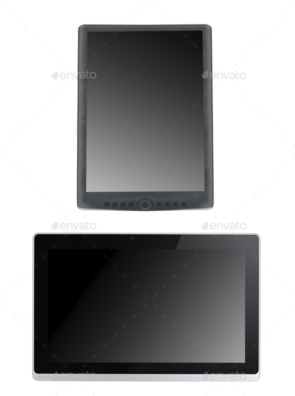 Portable e-book reader with tablet pc isolated - Stock Photo - Images