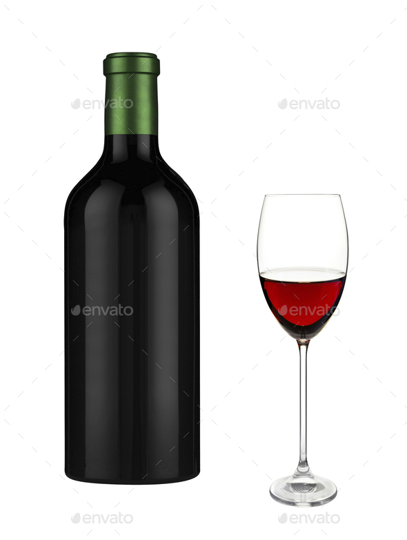Glass of red wine and a bottle - Stock Photo - Images