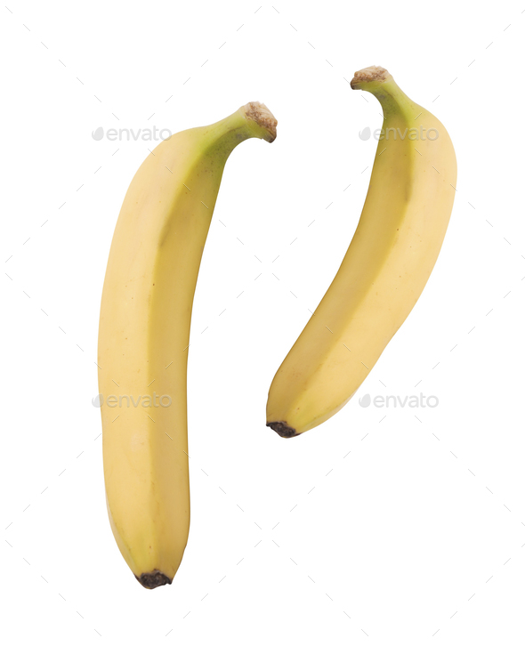 Two ripe bananas isolated on white - Stock Photo - Images