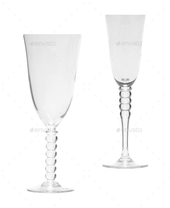 empty champagne glasses isolated - Stock Photo - Images