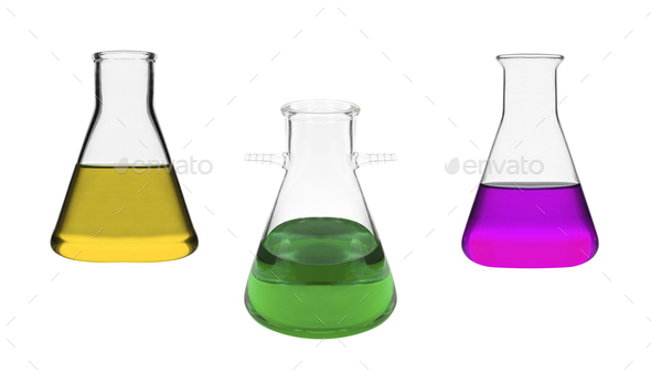 Chemical laboratory flasks isolated - Stock Photo - Images