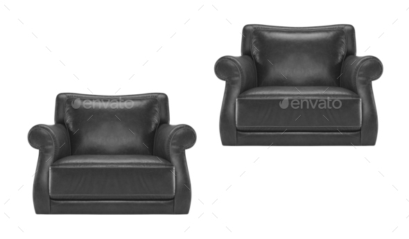 antique black leather chair isolated - Stock Photo - Images