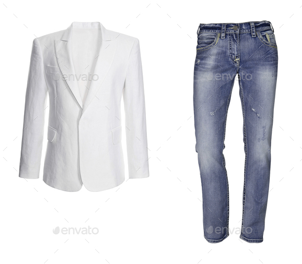 Blue jeans with white jacket isolated - Stock Photo - Images