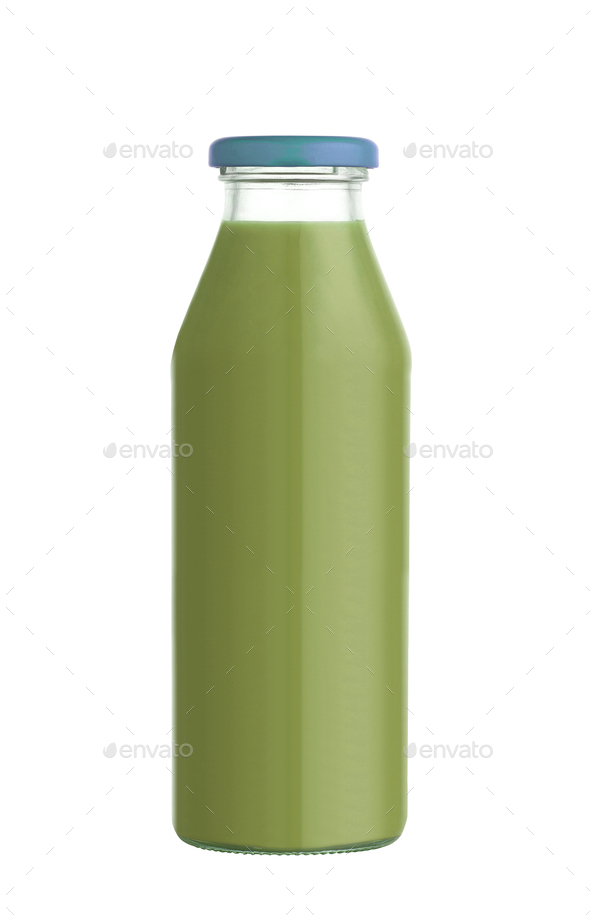 Juice in a glass bottle isolated on white background - Stock Photo - Images
