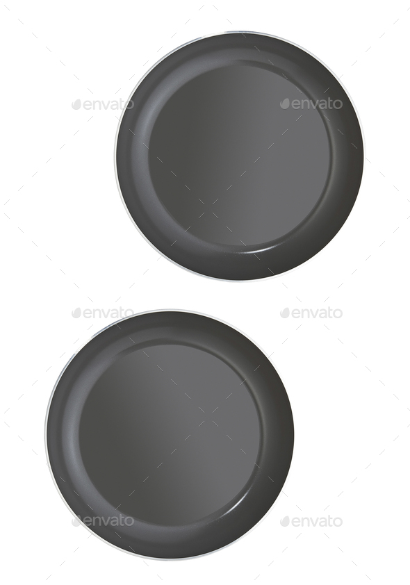 empty pans isolated - Stock Photo - Images