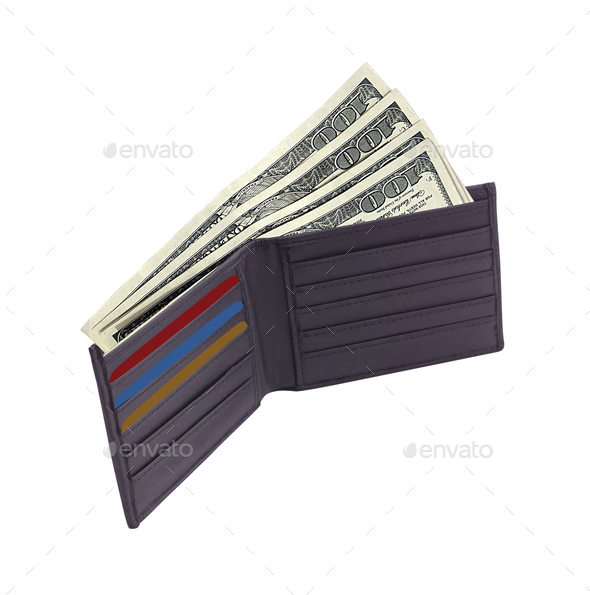 brown wallet with credit cards and dollars - Stock Photo - Images