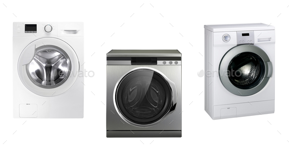 Closed washing machines - Stock Photo - Images