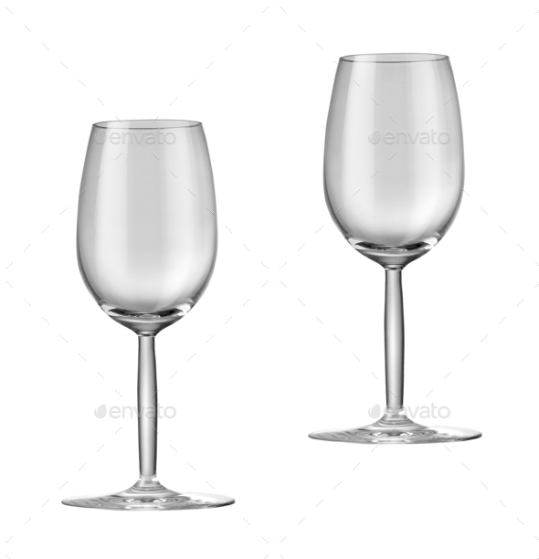 Empty wine glasses isolated - Stock Photo - Images