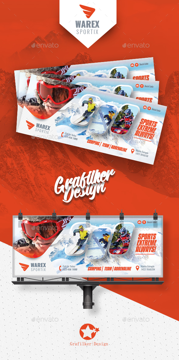 Winter Adventure Billboard Templates - Signage Print Templates
