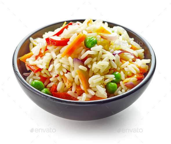 bowl of rice and vegetables - Stock Photo - Images