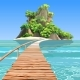 Cartoon Tropical Island with a Pier in Turquoise Sea
