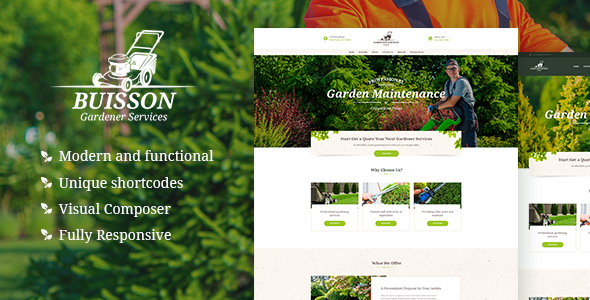 ThemeForest Buisson Gardening WordPress Theme 21148837