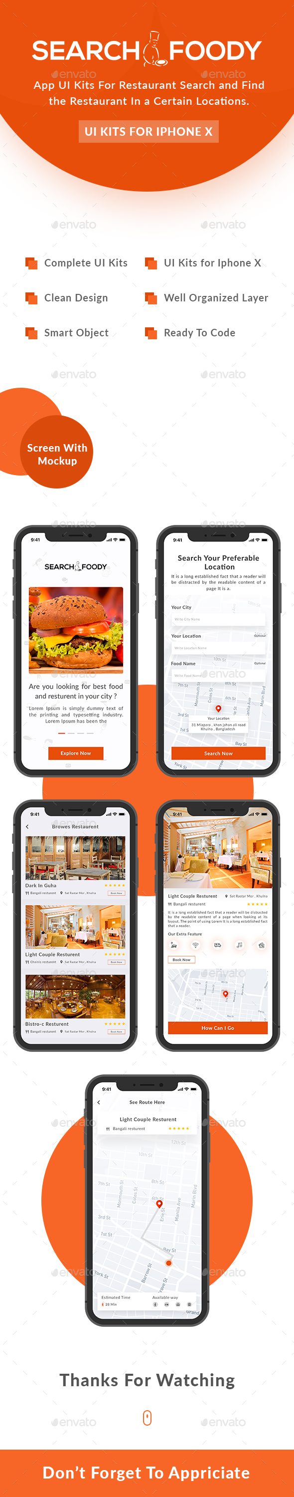 SearchFoody - Restaurant Search and Finder App UI Kits For iPhone X - User Interfaces Web Elements
