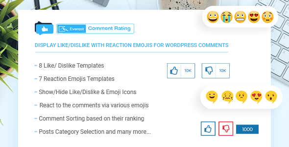 CodeCanyon Everest Comment Rating Display Like Dislike With Reaction Emojis For WordPress Comments 21149051