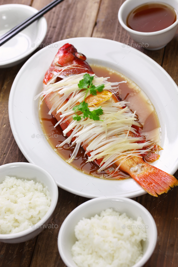 chinese steamed red grouper - Stock Photo - Images