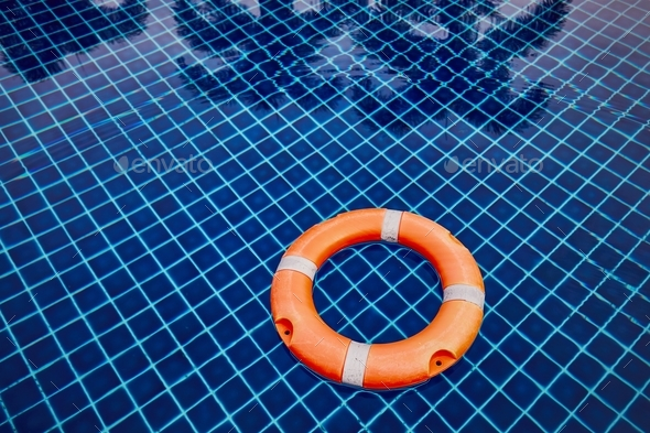 Lifebuoy in the swimming pool - Stock Photo - Images