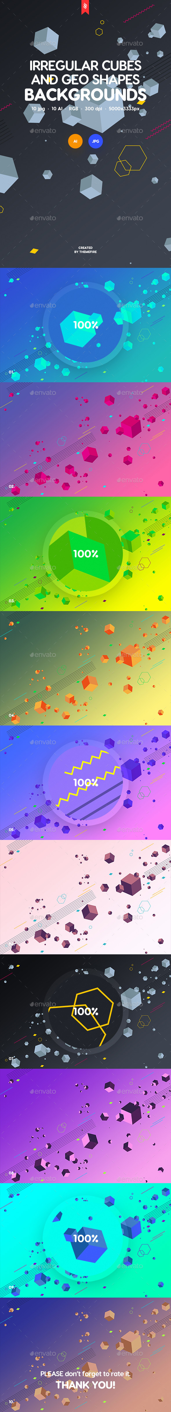 GraphicRiver Irregular Cubes and Geometric Shapes Backgrounds 21149163