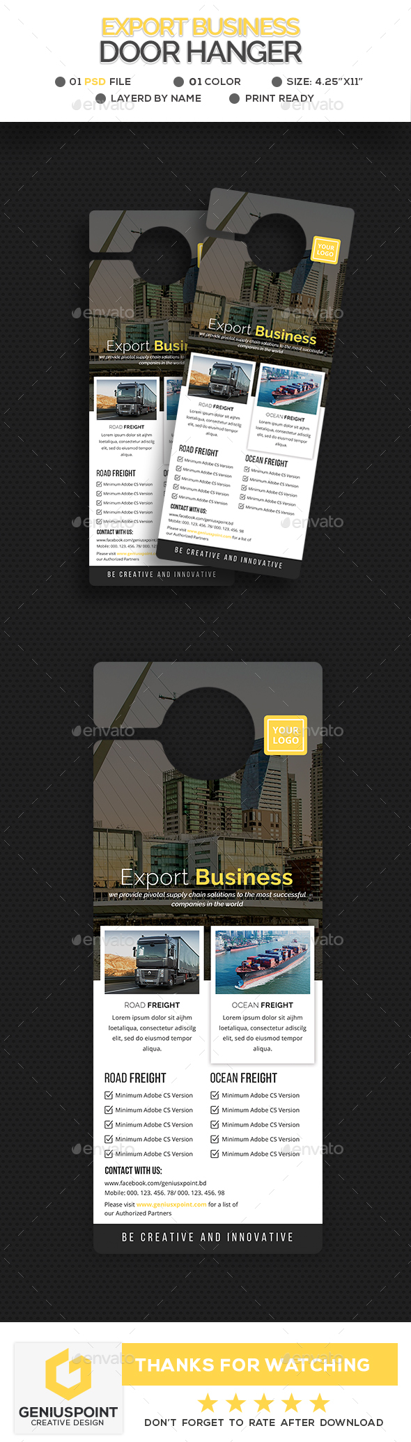 Export Business Door Hanger - Miscellaneous Print Templates