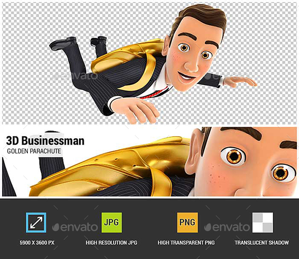 3D Businessman Golden Parachute Concept - Characters 3D Renders