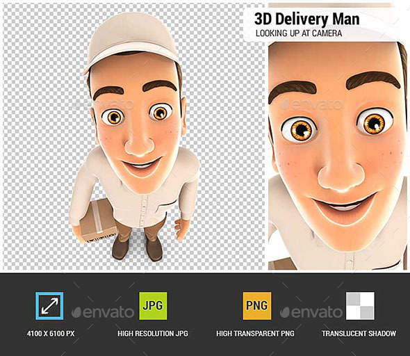 3D Delivery Man Standing and Looking Up at Camera - Characters 3D Renders