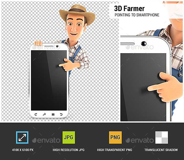 GraphicRiver 3D Farmer Pointing to Blank Smartphone 21149209