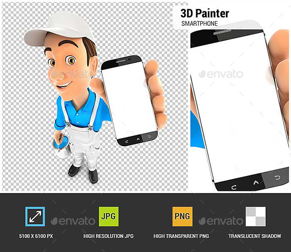 GraphicRiver 3D Painter Holding Smartphone 21149217