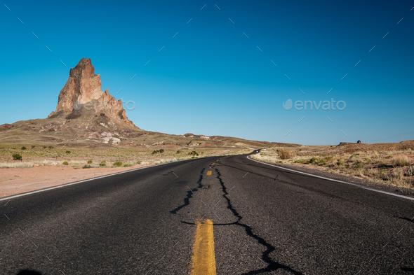 Empty scenic highway in Arizona - Stock Photo - Images