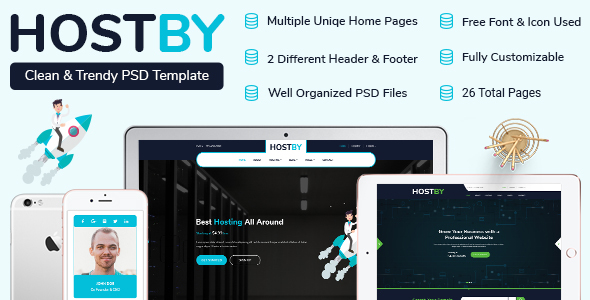 HOSTBY | MultiPage Hosting PSD Template - Hosting Technology