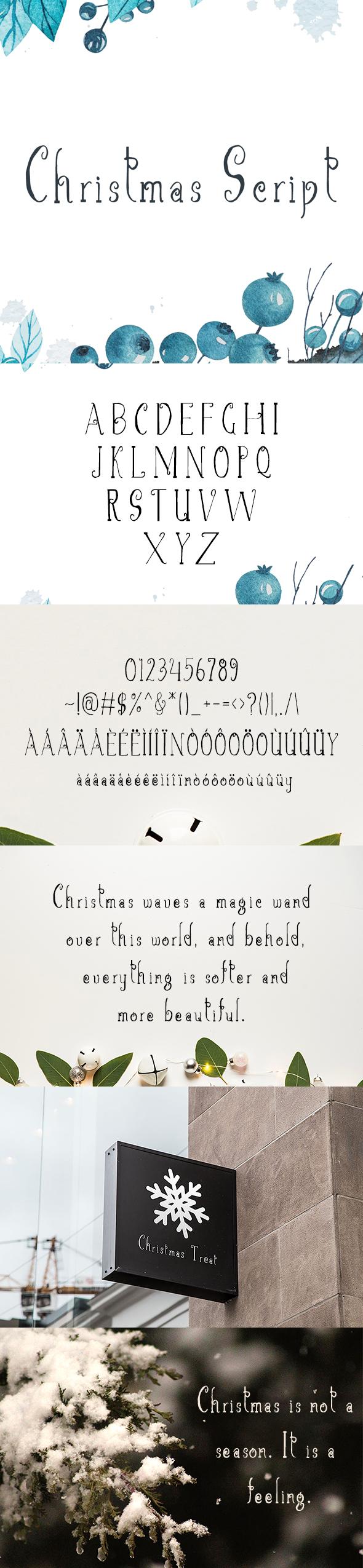 Christmas Script Font - Hand-writing Script