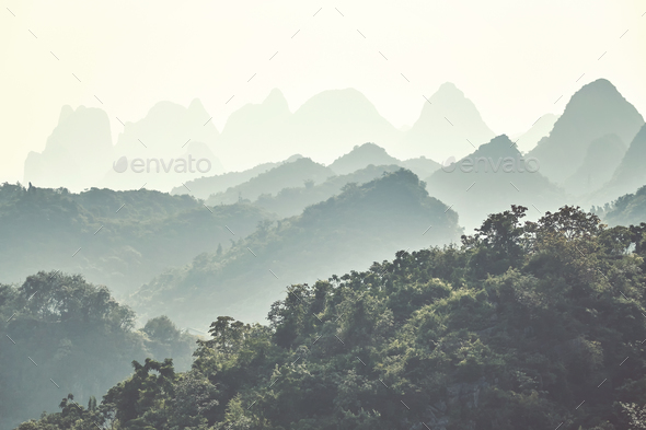 Karst mountainous landscape around Guilin, China. - Stock Photo - Images
