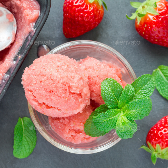 Homemade strawberry sorbet in glass, top view, square - Stock Photo - Images