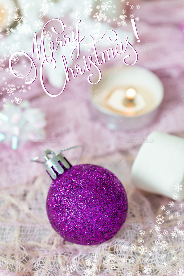 Christmas composition with snow frame and merry christmas lettering - Stock Photo - Images