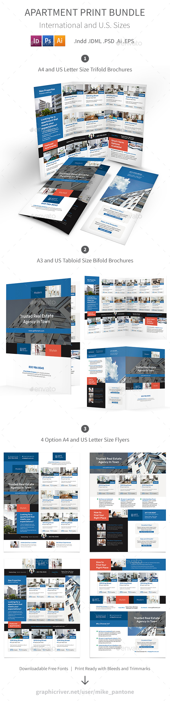 Apartment For Rent Print Bundle 3 - Informational Brochures