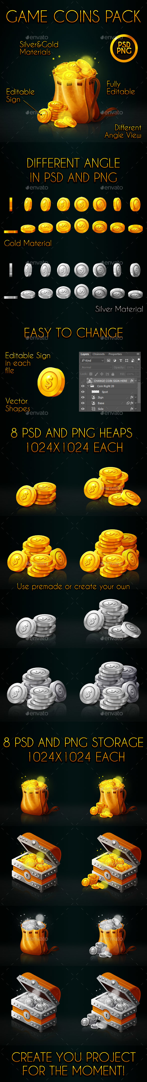 GraphicRiver Game Coins Pack 21150062