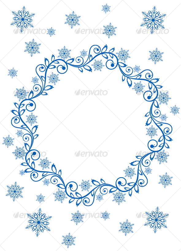 Snow frame and snowflakes by VectorTradition | GraphicRiver