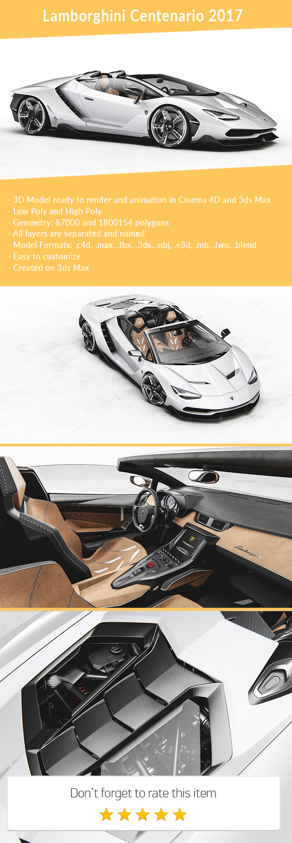 3DOcean Lamborghini Centenario Roadster 2017 21150114