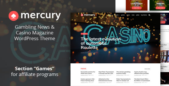 ThemeForest Mercury Gambling News & Casino Magazine WordPress Theme 20951954