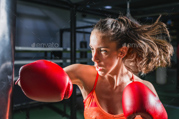 Woman boxing - Stock Photo - Images