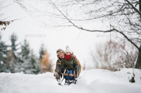 Grandfather and small girl sledging on a winter day. - Stock Photo - Images