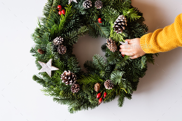 Christmas wreath on a white background. - Stock Photo - Images