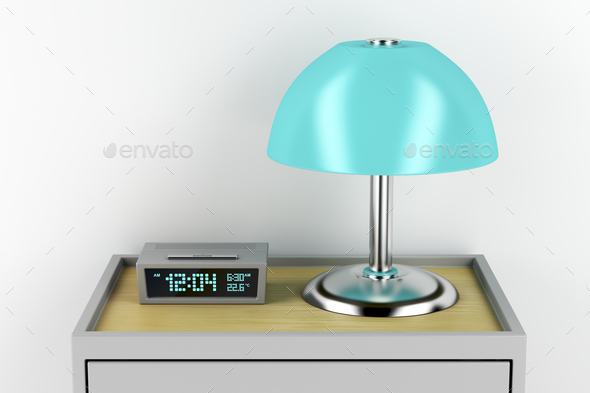 Nightstand with alarm clock and lamp - Stock Photo - Images