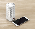 Speaker and smartphone on wood background - PhotoDune Item for Sale